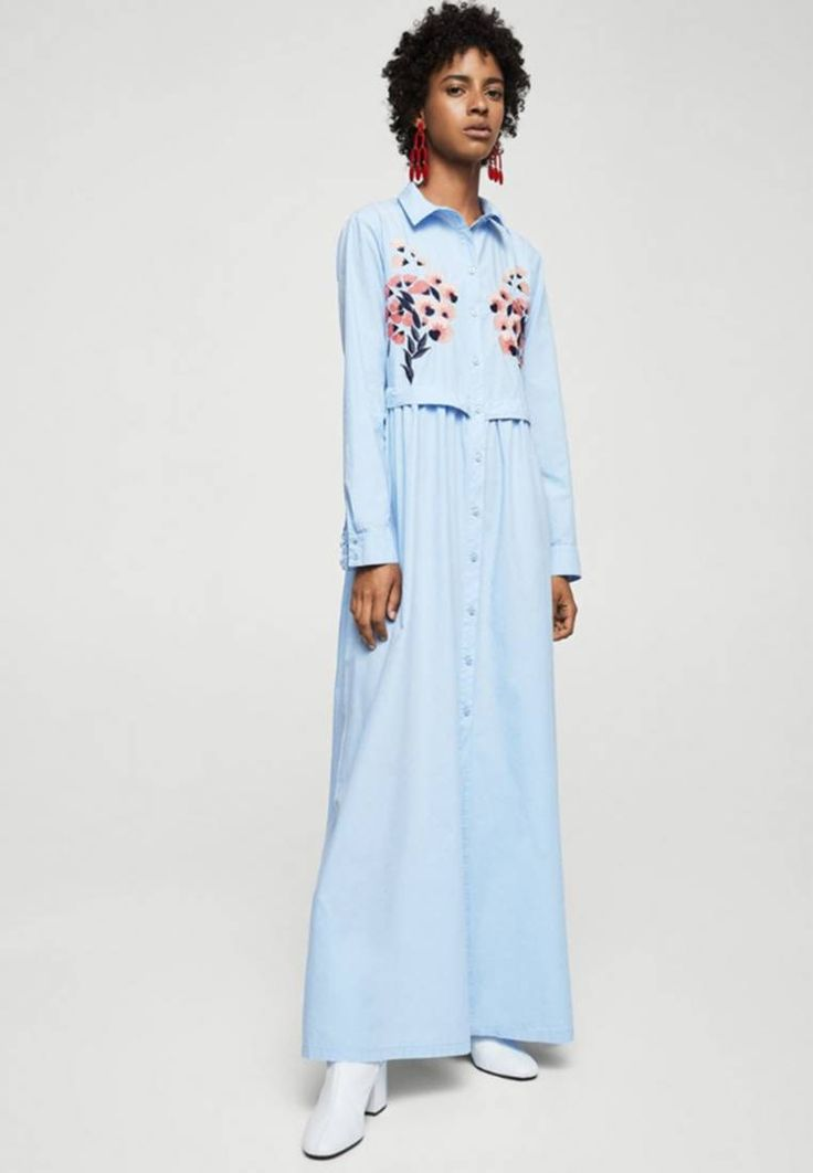 Mango. Maxi dress - blue. Fit:regular. Outer fabric material:100% cotton. Pattern:floral. Care instructions:do not tumble dry,machine wash at 30°C. Details:buttons. Fastening:button. Fabric:Jersey. Collar:Shirt collar