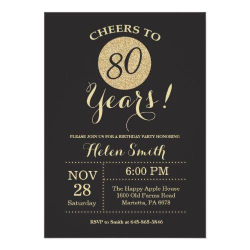 Cheers To 80 Years Invitations