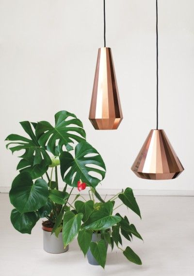 These lamps by David Derksen are made by folding thin sheets of copper into geometric shapes.