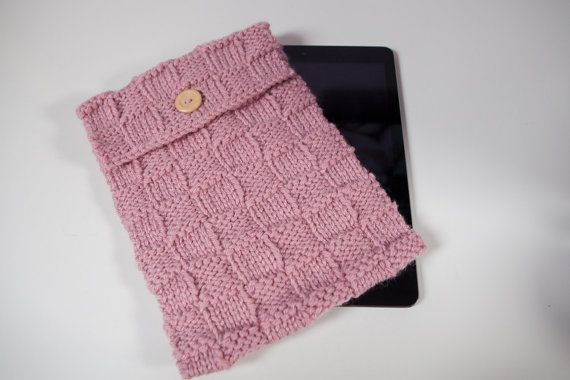 Hand-knitted cover/ sleeve designed to hold any iPad or larger tablet by SweetMaya on Etsy
