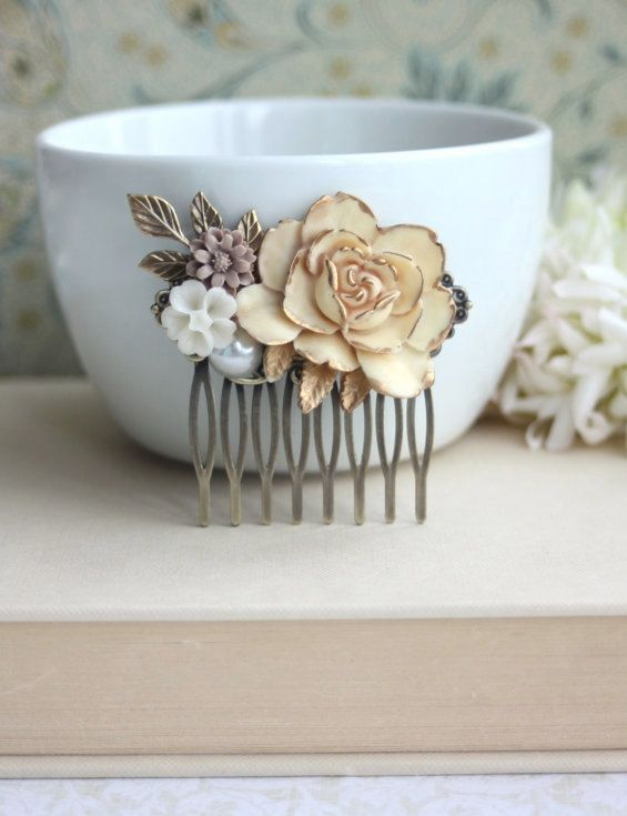 Shabby Antiqued Ivory Gold Rose, Brass Leaf, White, Pearl, Brown Mum Flower Collage Hair Piece. Bridesmaids Gift Rustic Ivory Gold Wedding.