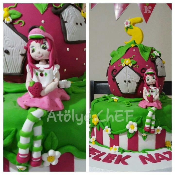 Çilek kız pasta,strawberry cake