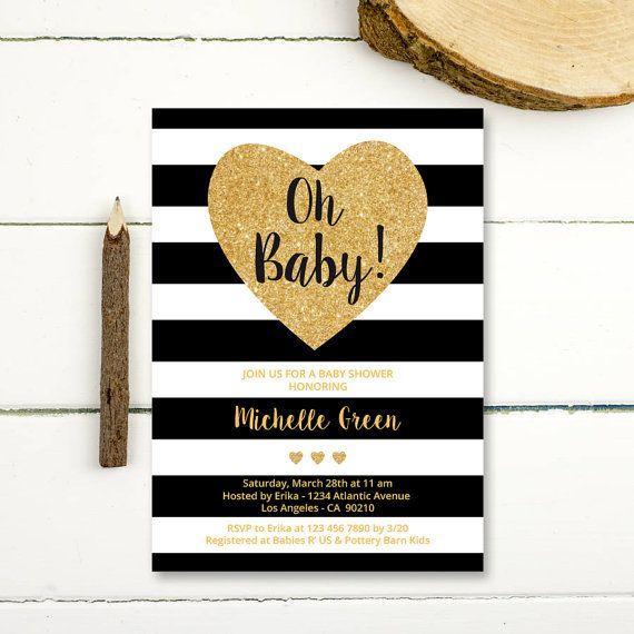 Black and Gold Baby Shower Invitation, black white stripes gold glitter baby shower invitation, instant download pdf gold baby shower invite