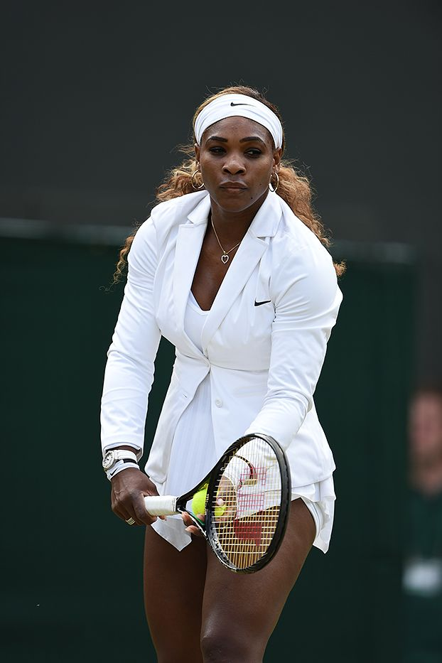 Serena Williams practises her serve before the start of the match - Jon Buckle/AELTC  ...in a fierce jacket!  #SerenaWilliams #Wimbledon #Tennis