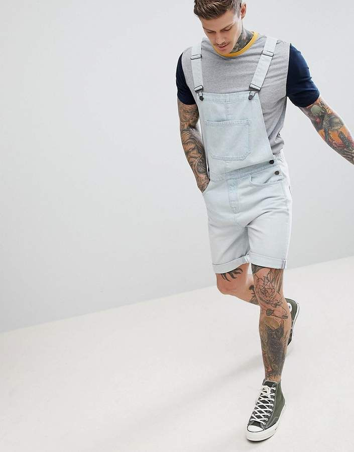 efe91d73752 ASOS DESIGN Denim Short Overalls In Light Wash Blue  Overalls by ASOS DESIGN