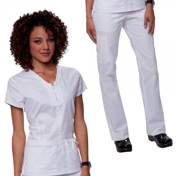 Koi Stretch Set in White.   Set Consists of Koi Mackenzie Top:  • Stylish top stitched front zipper  • Superior stretch fabric  • 2 pockets with toggle and D-ring    Koi Stretch Lindsey Trousers:  • Slim fitting  • Drawstring waist  £59.99  #medicalscrubs #nursescrubs #dentistscrubs #nurses #dentists #whitescrubs #nurseuniform