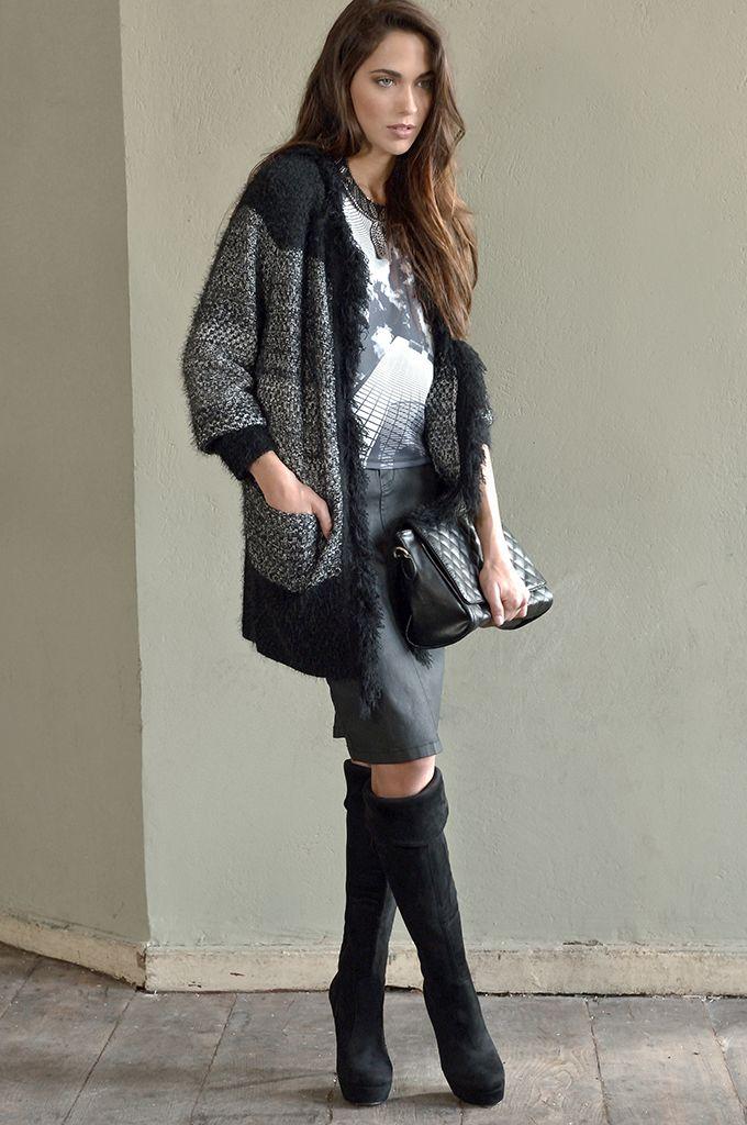 Sarah Lawrence - melanged long cardigan, short sleeve printed blouse, pencil denim skirt.
