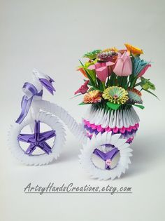 3d Origami Tricycle, 3d Origami Tricycle with a Pot, 3d Origami Flower Pot, 3d…