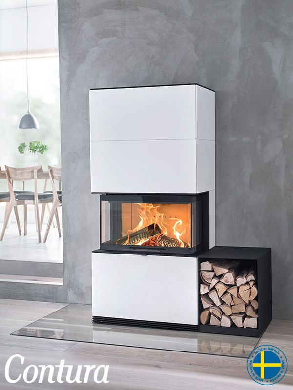Contura i51A in Artstone is a stained white cast stone, unique to Contura. Supplement with a black painted steel log box.