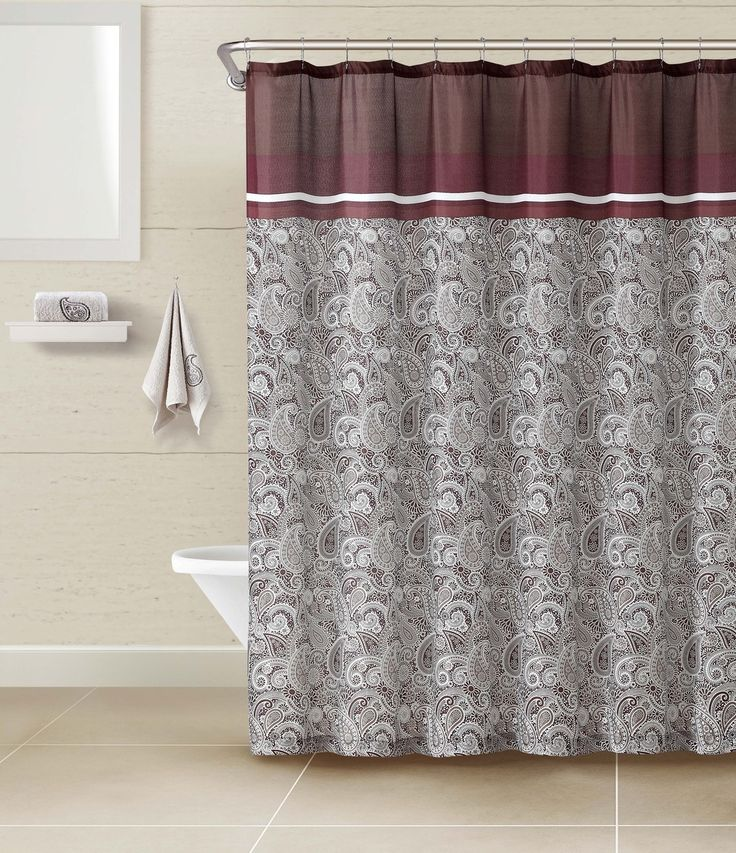 Chocolate And Burgundy Paisley 3 Piece Bathroom Set Fabric Shower Curtain With 2 Matching Cotton