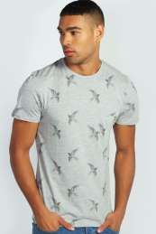 Bird Print T Shirt  from Boohoo on discounted prices, use promo and discount codes.