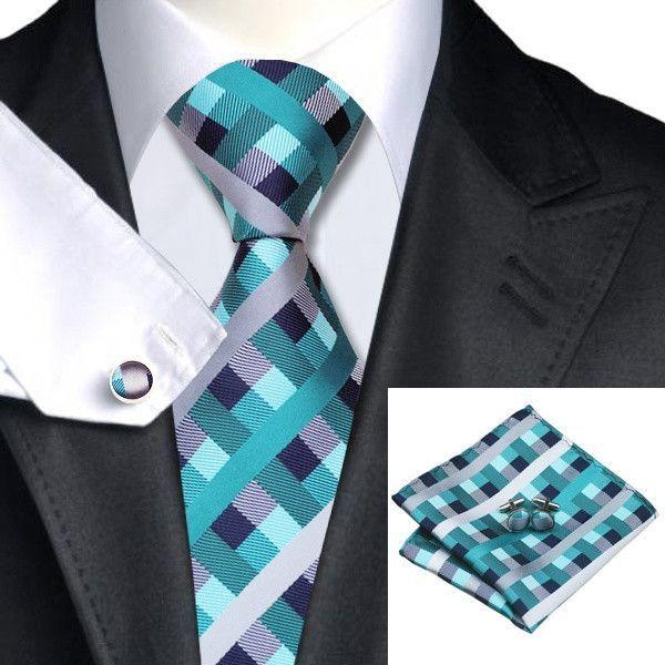 SN-553 Men's 100% Jacquard Woven Silk Neckties Tie handkerchief Sets for men Formal Wedding Party Free Shipping