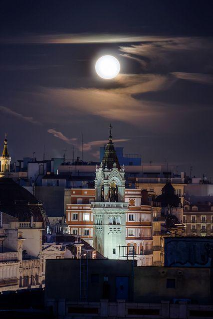 Moon Above Madrid, Spain