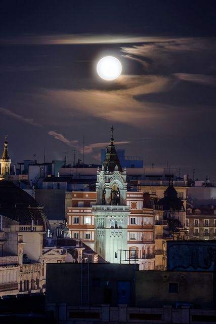 Moon Above Madrid, Spain