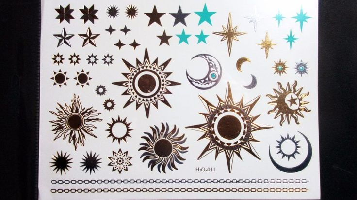 Gold Sun Stars Temporary Henna Tattoos Transfer Silver Arm Fake Tattoo Stickers