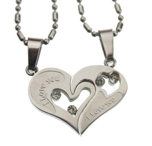 "Lovers /Couple Heart Pendant Set, Stainless Steel Rainbow Silver Jewelry. $25.97. 2 half heart pendants,. Total weight: 9.06 grams.. High quality 304L stainless steel. Size: 1"" length x 1 1/8"" width. Two (20"" & 24"" long"")  Stainless steel chain included. Save 83% Off!"