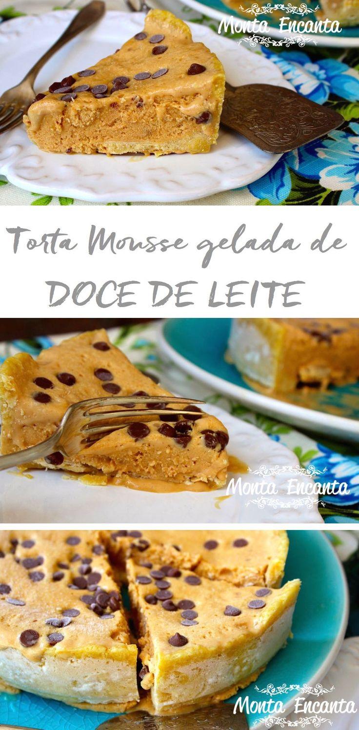 Torta Mousse de Doce de leite. Massa Podre crocante uma espécie de bolachinha super saborosa.! Sobre ela, um delicioso mousse de doce de leite