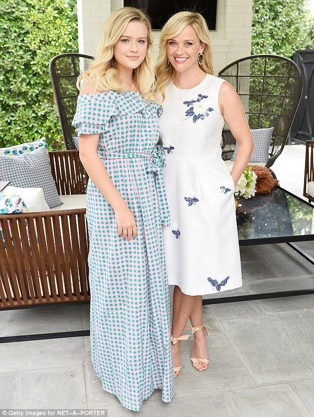 Beautiful ladies:Reese Witherspoon celebrated the new NET-A-PORTER X Draper James collection - with her mini me daughter Ava Phillippe