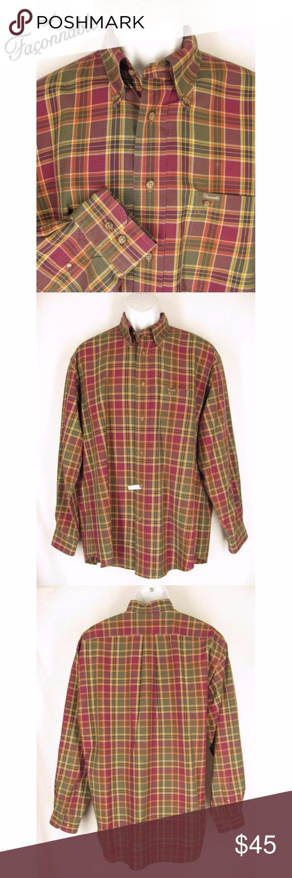 """Faconnable Shirt L Plaid Button Down Collar Faconnable mens plaid shirt, size Large. This handsome shirt is a gold, olive green and burgundy plaid. It's 100% cotton and has a button front, button down collar and long sleeves. Faconnable engraved buttons and logo on the chest pocket. This shirt has a back yoke and pleat and a shirttail hem. Excellent, Gently Pre-Loved condition!  25"""" across chest 34 1/2"""" from top of garment to bottom of hem  10x14 170703-214-9 Faconnable Shirts Casual Button…"""