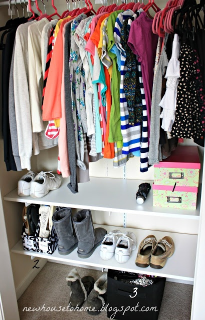 closet ideas... i have a very simalar closet and would like to start to try to keep it like this :)
