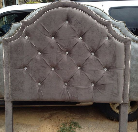 gray velvet sofa with nailheads how can you make a bed more comfortable tufted headboard king queen full twin ...