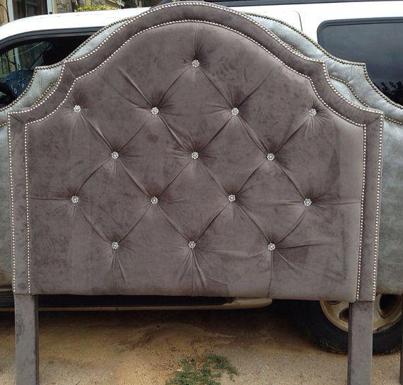 Tufted Headboard Gray Velvet King Queen Full Twin