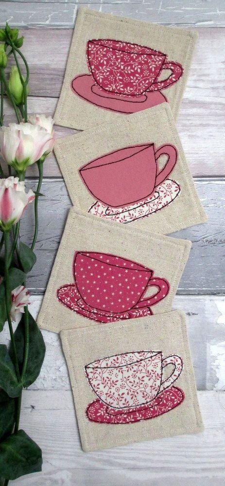 Pretty Pink Coaster Set - 4 Fabric Tea cuadros de tCups Coasters - Appliqué Cups £22.00