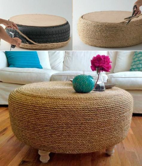 Nod to nautical with rope. And look what you can do with an old tire! Featured here: http://www.completely-coastal.com/2016/01/coastal-nautical-ottoman.html