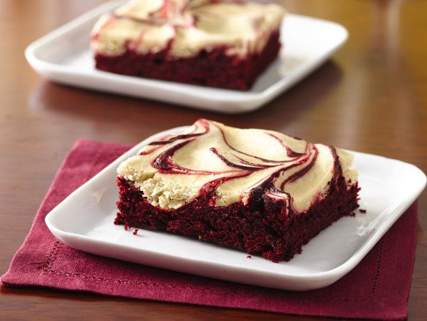 """Betty member CookingTeacherCarly says, """"I saw these in an email and thought they'd be a perfect dessert for Valentine's Day for my hubby, and I was right! He said these were probably the best brownies I had ever made!"""" A touch of espresso takes these red velvet brownies from """"amazing"""" to """"out of this world."""" No wonder this is one of our most-Pinned dessert recipes! They're super easy, too—just 10 ingredients and 15 minutes of prep time!"""