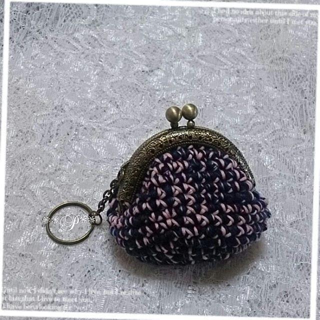 世界で一つだけの編みがま口(^w^) 口金幅6.5cm    @nijiyarn Thank You    #crochet #coinpurse   #gamaguchi #crochetlove   #crochetcoinpurse   #yarn #yarnlove #handmade  #peppermint #KOBE