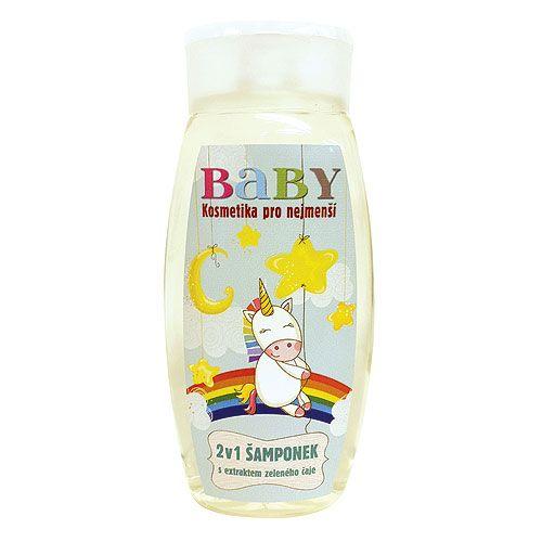 Dětský vlasový a tělový šampon s rostlinným extraktem, velmi jemný s neagresivní vůní, vhodný pro děti do 3 let.