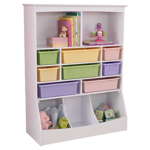 KidKraft Wall Storage Unit White with plastic bins - 14980 -  Kid Kraft Pretend Play - Nurzery.com
