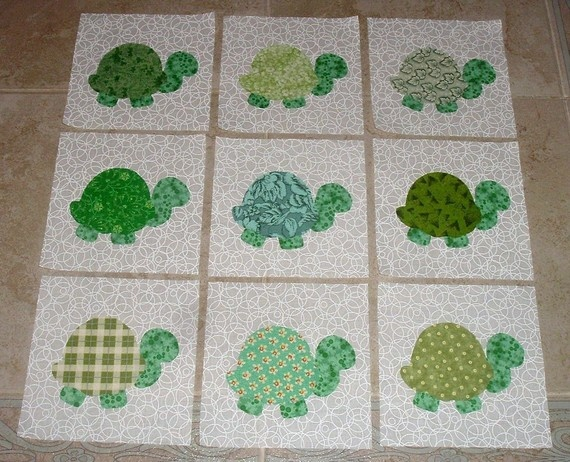 9 CUTE Scrappy Green Turtle Quilt Top Blocks by MarsyesQuiltShop, $10.95