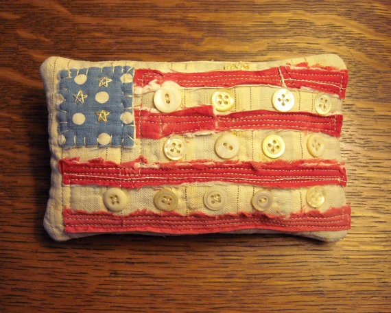 Americana Patriotic Flag Button Pillow From Vintage Quilt
