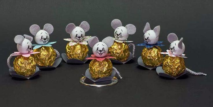 Gemaakt van een chocoladebolletje van Ferrero en een wattenbolletje
