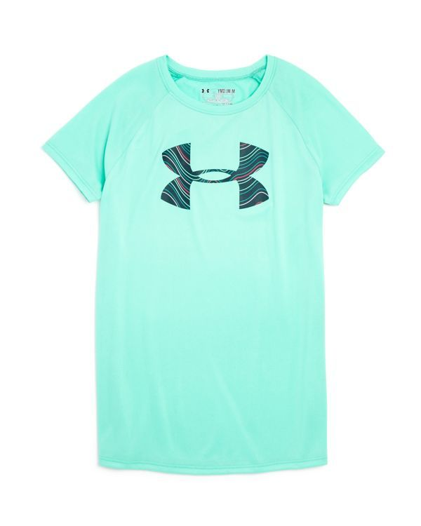 Under Armour Girls' Big Logo Tee - Sizes Xs-xl | Polyester | Machine wash | Imported | Crewneck, short raglan sleeves, logo at chest and back neck | Sweat-wicking and anti-odor technology | Web ID:163