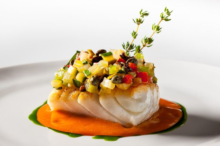 Roasted Hake Marinated Vegetables, and Aromatic Tomato Sauce