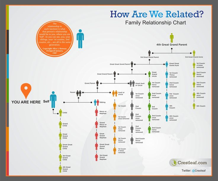"Colorful Family Relationship Chart Helps Answer the Question ""How Are We Related?"" 
