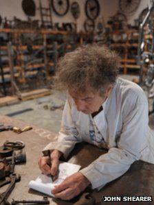 Bob Dylan at his iron works studio, September 2013