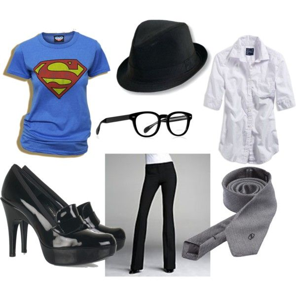 Female Clark Kent Halloween costume from http://penny-laine.blogspot.com/search?q=polyvore+play