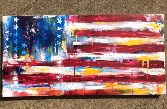 This listing is for my new original painting American Flag ABSTRACT Painting United 50 For this colorful abstract painting I was inspired by my last