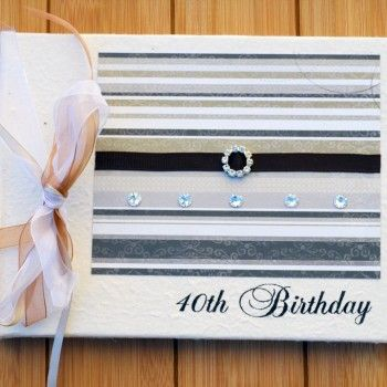 Rustic Stripes 40th Birthday Guest Book