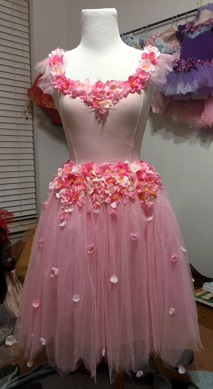 Peaseblossom costume for a Midsummer Night's Dream. Cherry blossom fairy costume. Flower ballet outfit.
