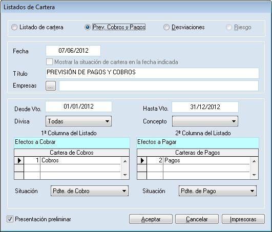 Listado de cartera del programa ERP Gextor Financiero (contabilidad) con tesorería.