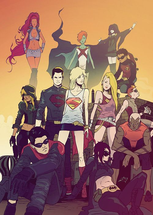 longboxreview:  fuckyeahsuperheroines:  batgirlrising:  birdstump:  Legacy 2013, by morphews  Gorgeous.  I want this  Ok, that Superboy outfit? It's the best I've seen. Ever.