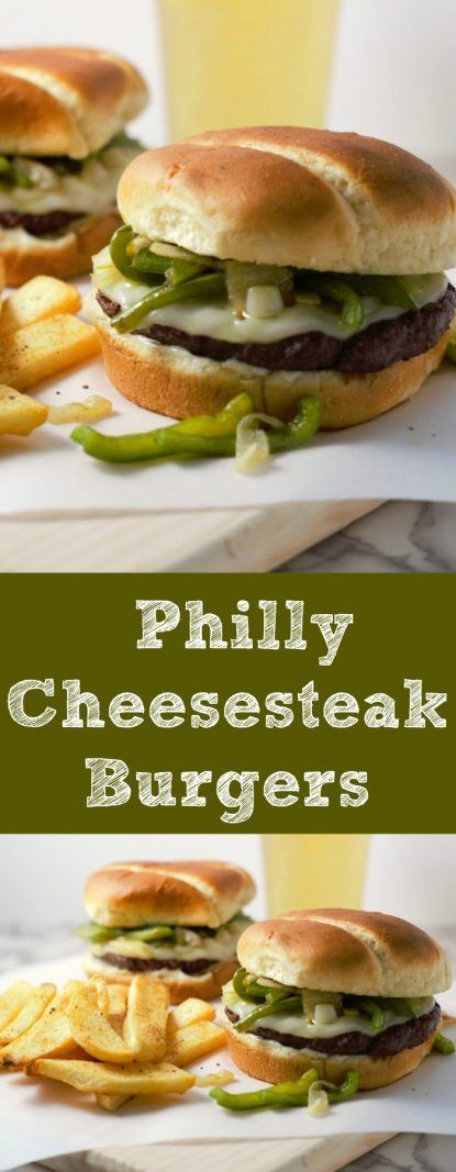 Philly Cheesesteak Burgers are the perfect year round burger that will stand out from the crowd. All of the classic cheese steak flavors of green pepper, onion, and melted cheese are combined in this juicy quarter pound burger. This recipe makes a small batch of two quarter pounders and makes a great lunch, dinner, game day, or romantic date night meal.  #PhillyCheesesteak #burgers #hamburgers #beef #DinnerForTwo #LunchForTwo #RecipesForTwo #datenight #gameday