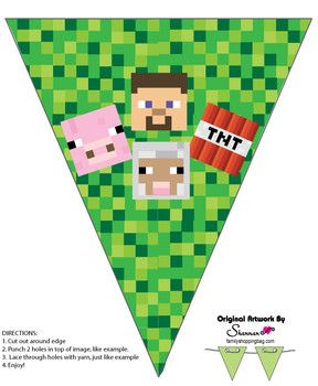 Banner 2, Minecraft, Party Decorations - Free Printable Ideas from Family Shoppingbag.com