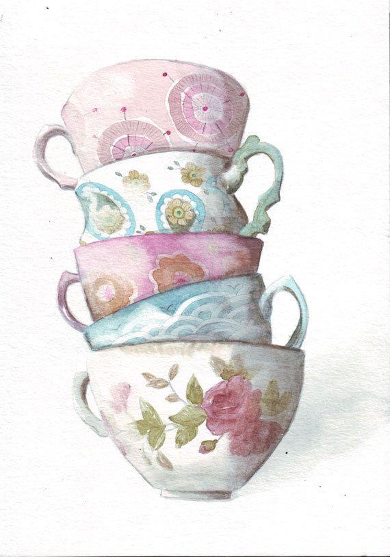 #art #original #watercolor #painting #circle1 #Etsy #artpromotivate http://etsy.me/14QkkJM Tower of Teacups