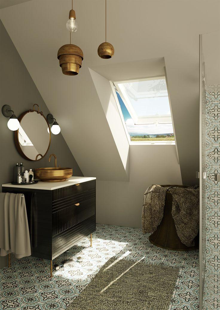 Złote i brązowe dodatki w jasnej łazience nadają przestrzeni elegancji. Podoba się Wam taka aranżacja?