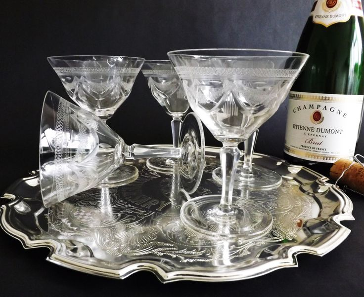 Antique Crystal Champagne Coupes, Etched Champagne Saucer Prosecco Glasses, Pall Mall Glassware, Wedding Toast Stemware, Cocktail Glass by CuriosAnCollectibles on Etsy